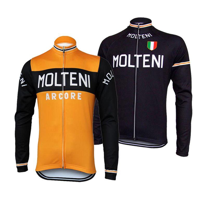사이클링 저지 긴 소매 프로 팀 겨울 양털 또는 얇은 레트로 사이클링 의류 자전거 의류 전체 지퍼