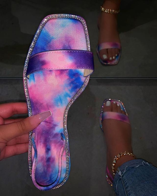 2020 donne piane dei pattini sandali pistoni di estate a mano strass sandali pistoni della spiaggia pattini casuali delle donne