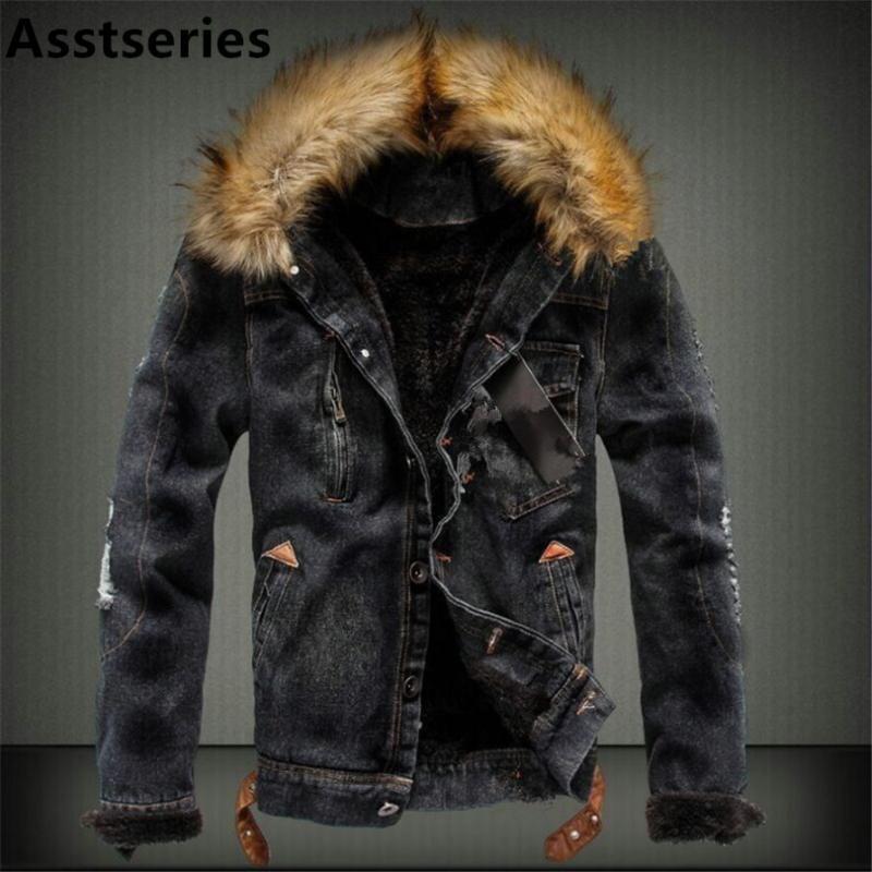 2018 Outono e Inverno afluxo de homens Casual Denim Jacket inverno de espessura Denim Jacket Retro Nagymaros gola do casaco Cashmere