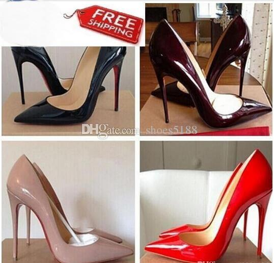Prix de gros !!! Livraison Gratuite So Kate Styles 8cm 10cm 12cm Talons Hauts Chaussures Rouge Fond Nude Couleur Véritable Cuir Point Toe Pompes En Caoutchouc
