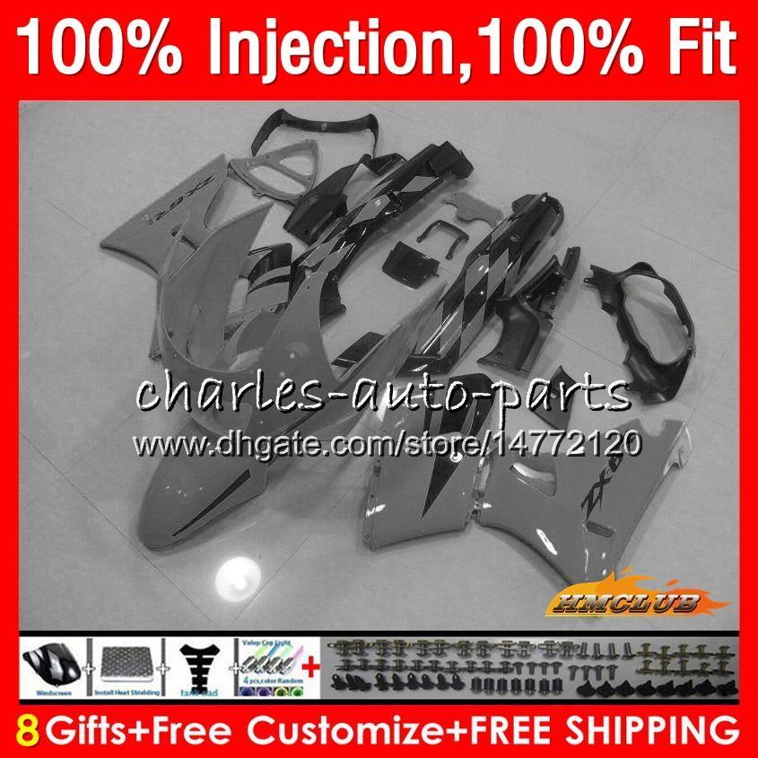 Injection Pour KAWASAKI ZZR400 ZZR400 99 00 01 02 03 04 05 06 07 85HC.156 ZZR 400 1999 2000 2001 2002 2003 2004 2005 2007 Carénage gris noir