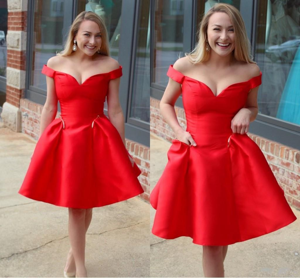 großhandel rot günstige kurze cocktailkleider schulterfrei einfache kurze  prom abendkleider partykleider homecoming dress graduation dresses 164 von
