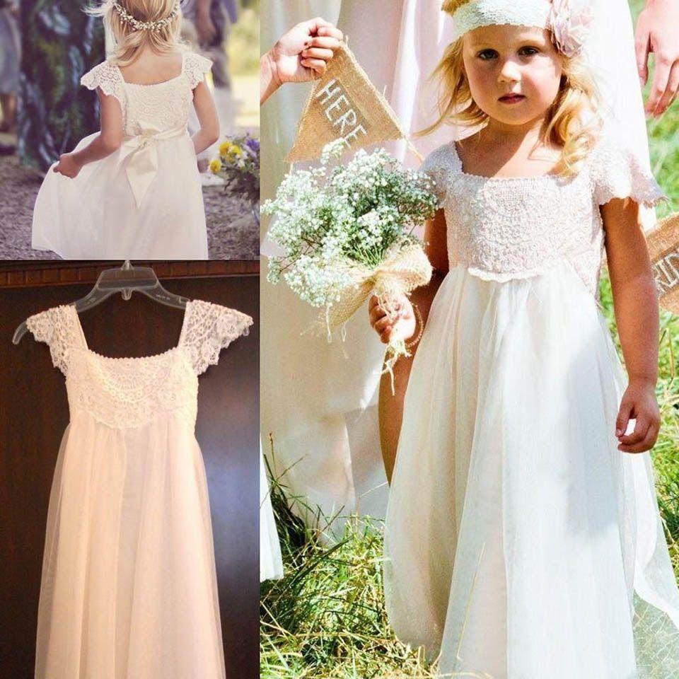 Boho кружево цветок девушка платье для богемных свадебных вечеринок малыша причастие платья маленькие девочки на день рождения выпускное платье на заказ