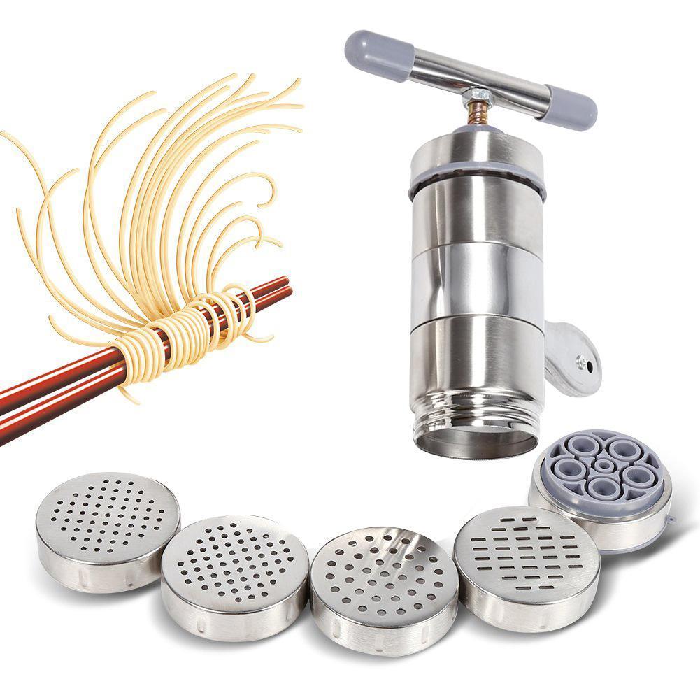 Aço inoxidável manual Noodle Criador Imprensa Pasta máquina de macarrão cortador com Pressionando Moldes Fazer Ferramentas Spaghetti Kitchen