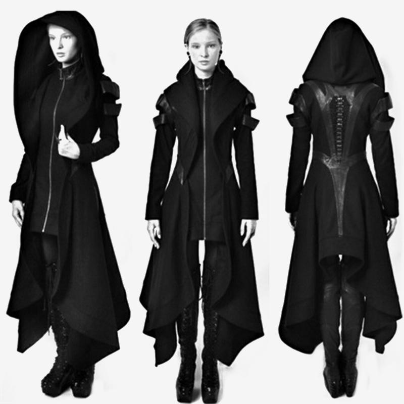 2018 Women Gothic Winter Trench Coats Autumn Female Fashion Overcoats Ladies Plus Size Hooded Slim Zipper Black Vintage Outwears