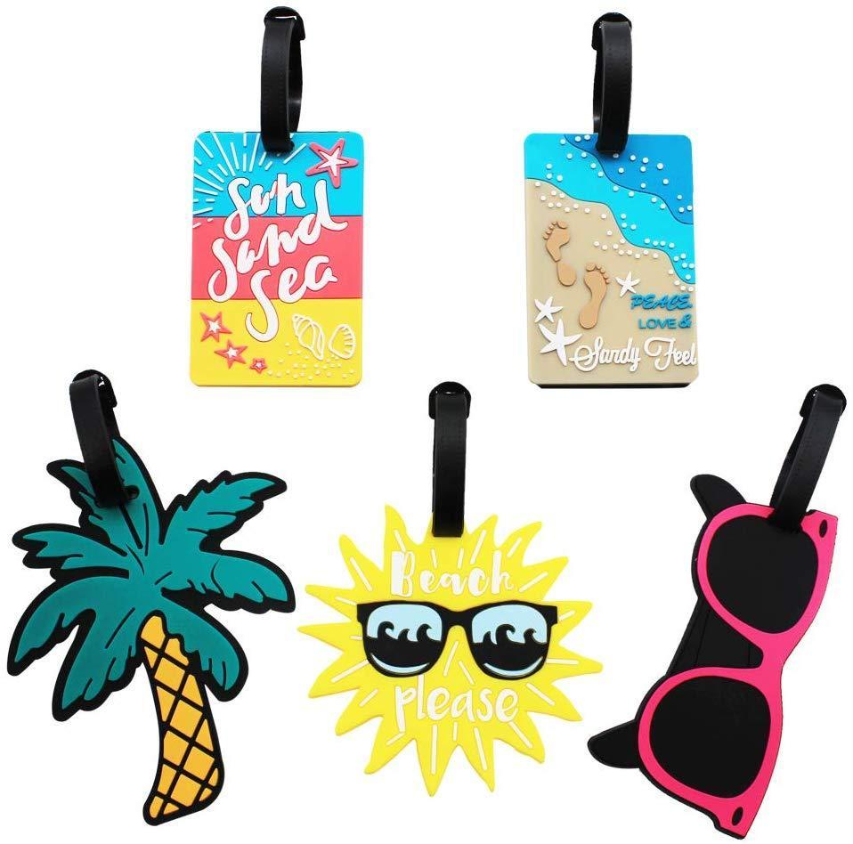 Nette Kofferanhänger für Frauen-Männer, Sommer-Strand-Tasche Schlagwörter Unique Travel Gepäckanhänger Koffer Identifier Labels, Set von 5