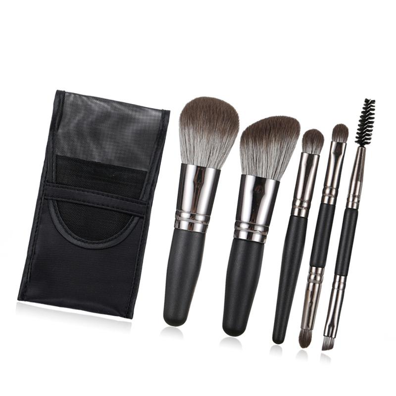 5pcs Mini Portable Makeup Brushes Set With Bag Make Up Brush Professional Eyeshadow Powder Eyebrow Cosmetic Beauty Tool Kits Hot T1101