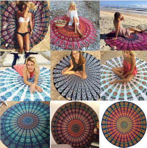 style européen et américain rond imprimé serviette de plage protection contre le soleil châle carré d'été