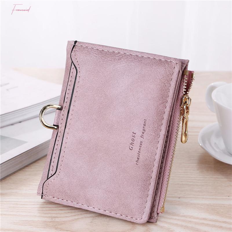 Wallet Frauen Leder-Kartenhalter-Dame-Geldbeutel Lila Pink Grau Blau Schwarz Wallet Femal PU-Leder-Bank-ID-Kredit W101