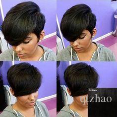 Cheveux Perruques Capless humaine Cheveux raides Layered Haircut / Short coiffures courtes noir naturel Capless perruque femmes