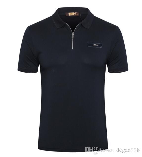 ZI * LLI Kurzarm-T-Shirt Zauber Leder 2019 neue Revers Mode Reißverschluss beiläufige Stickerei Zauber Leder Flut