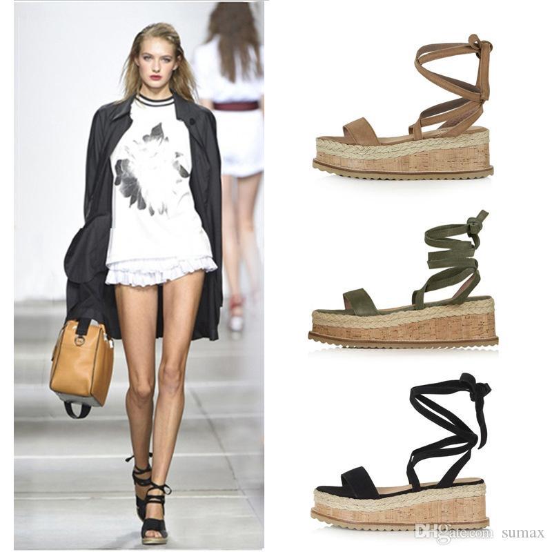2019 Sommer Damen Wedges Sandalen Roman Style Cross Bandage Open Toe Large Size Damen Erhöhte Sandalen Größe: EU35-43