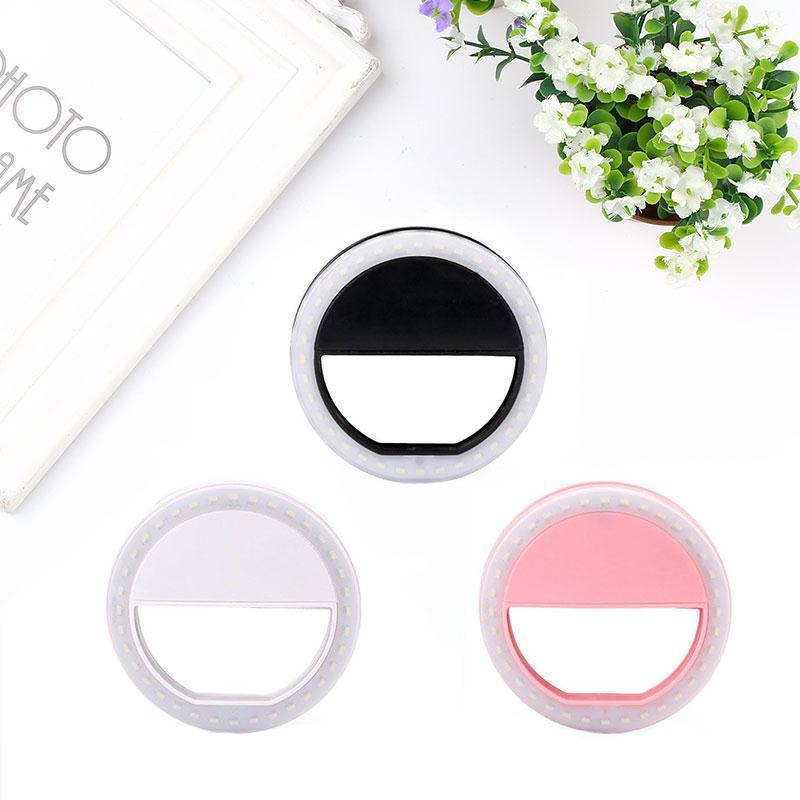 PK12 Universal Selfie Ring Flash Portable LED Ring Fill Light Selflife Lamp Camera Photography Flashes for iPhone for Samsung
