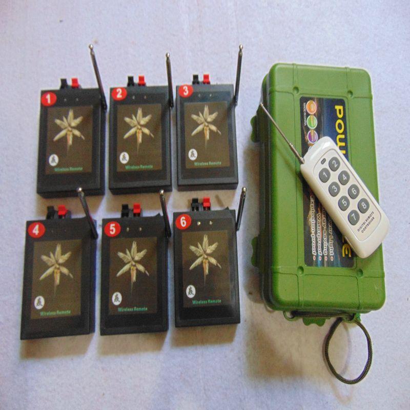 6 Cues Neujahr digitalen Fernfeuerwerke, die System abfeuern, gelben Draht-Party E-Match elektrischen Draht Radio Feuer Wireless-Schalter