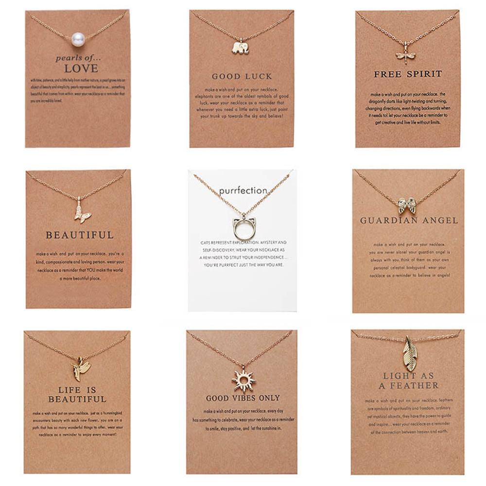 CR Bijoux Arrivée Collier DotéRed avec carte-cadeau Elephant Pearl Love Ailes Croix Clé Zodiac Sign Sign Pendentif Lotus pour femmes