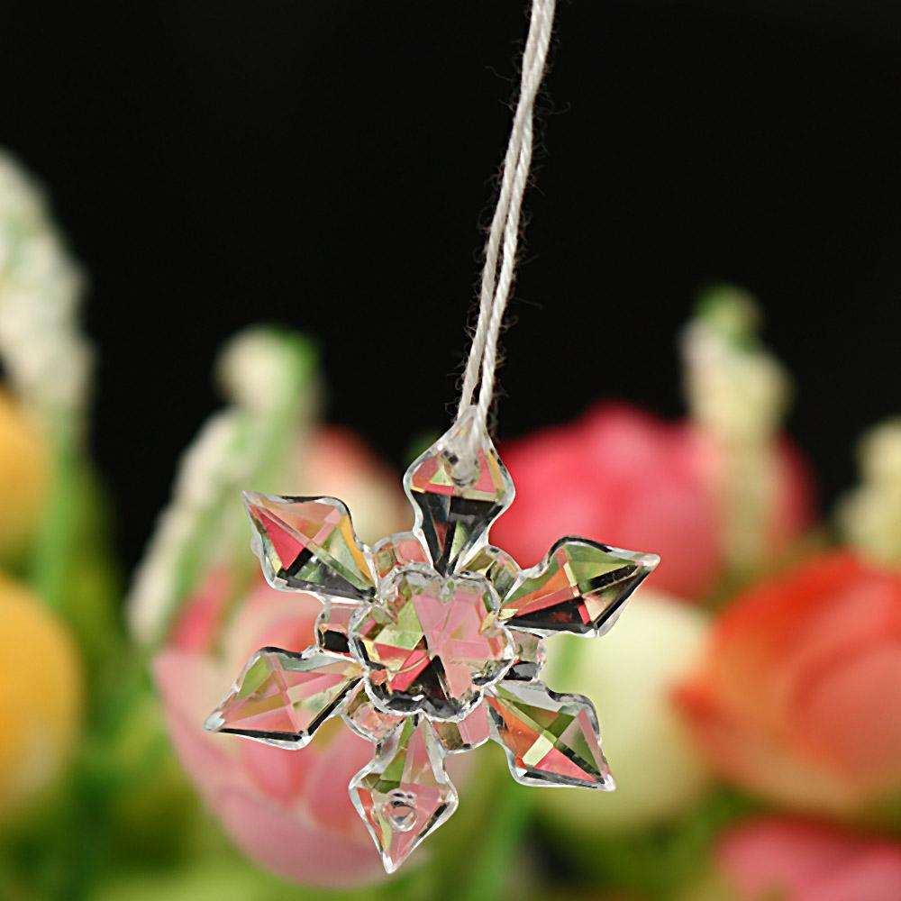 20PCS/Pack Christmas Ornament White Snowflakes Acrylic Craft Christmas Snowflake Tree Window Decorations For Home