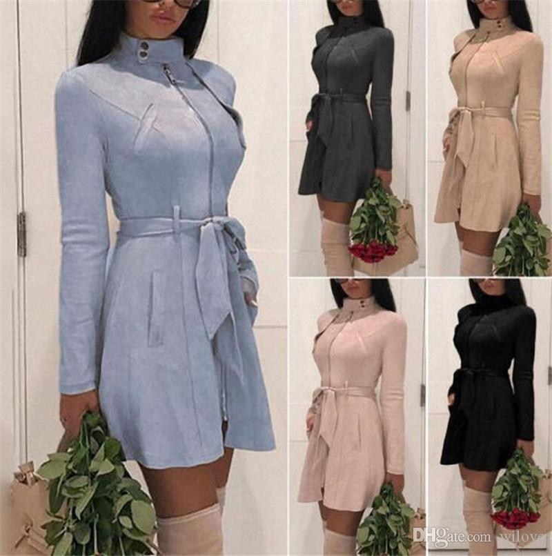 New 5 Colour 6 Size Stand Collar Sashes Womens Winter Zipper Hooded Hoodie Jacket Coat Casual Long Sleeve Tops Outwear