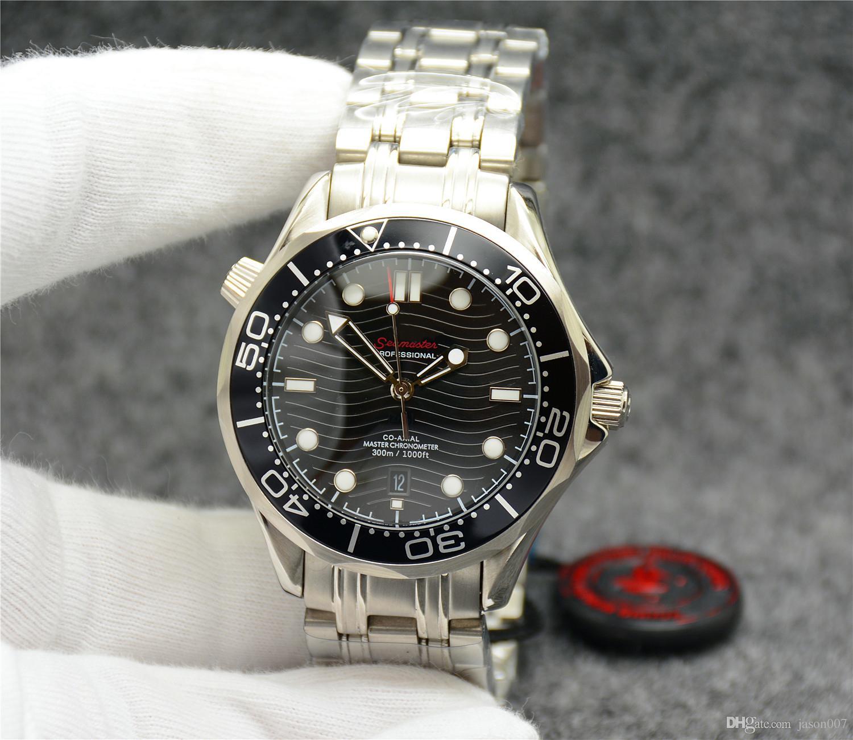Top gratuit 42MM automatique mécanique extérieure montres pour hommes Mens Watch Black Dial avec bracelet en acier inoxydable lunette tournante cas transparent