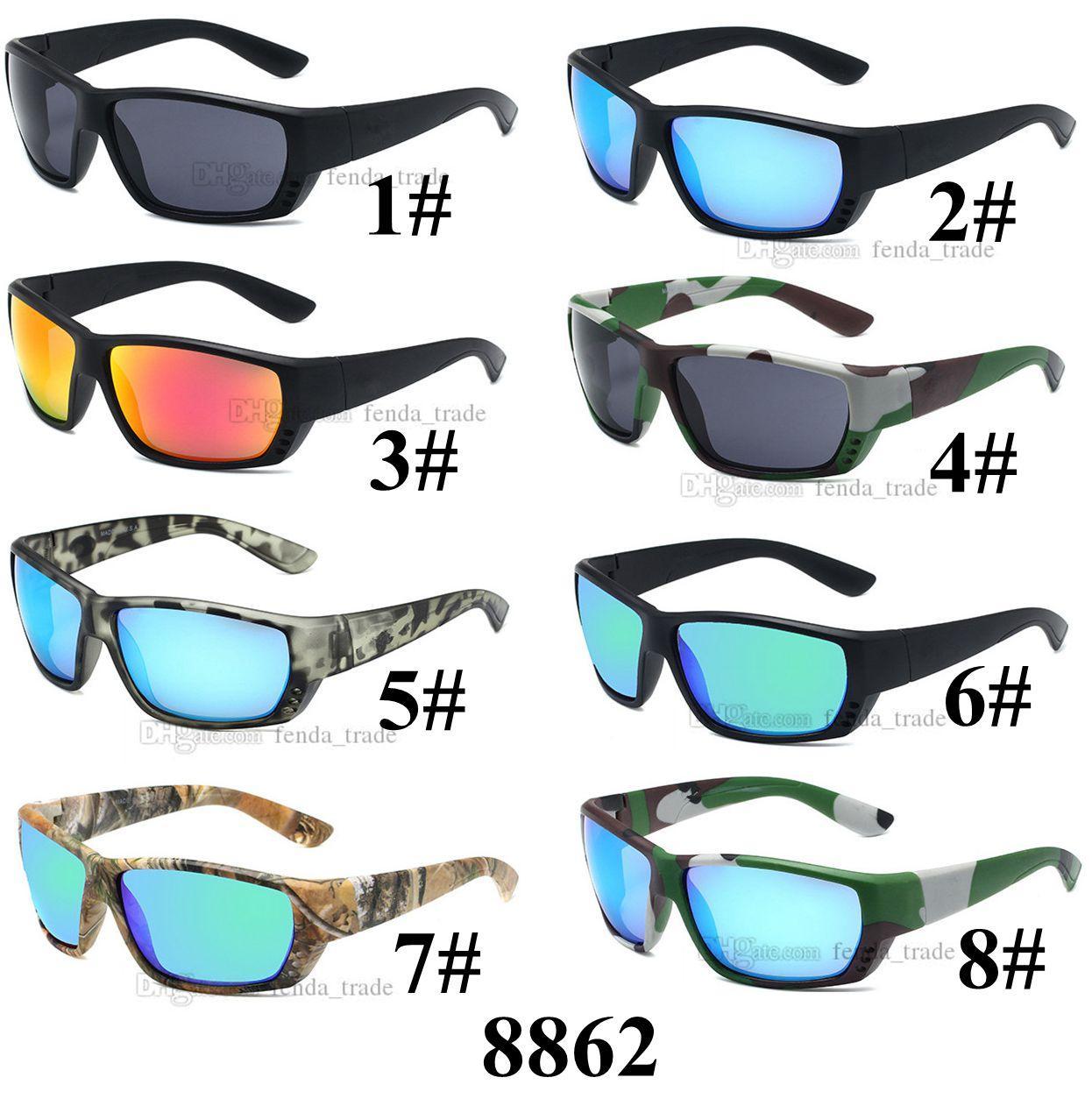 Camouflage Funa Alley Lunettes de soleil hommes Designer pêche Vintage Outdoor Lunettes de soleil UV400 Miroir Sunglasses Conducteur 8 couleurs 10pcs Fast Ship