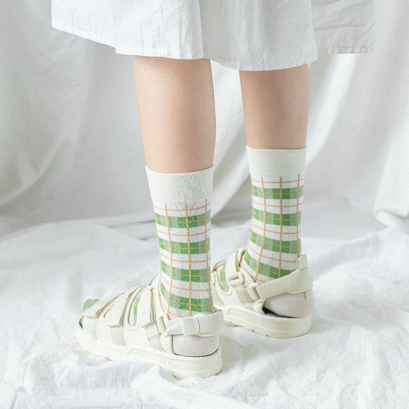 Matcha comprobado calcetines para niñas japonesas primavera/verano ins harajuku estilo par calcetines de algodón verde