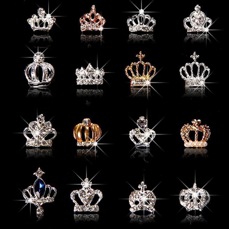 10pcs / set 3D Nail Art Jewelry Prata Gold Crown Forma prego Jóias Brilhando cristal Pedrinhas acessórios de unhas jóias ML723 #