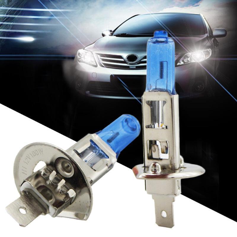 Alta qualidade 2pcs H1 100W Luz de halogéneo Branco brilhante farol do carro lâmpadas lâmpada 12V Acessórios Car 6000K