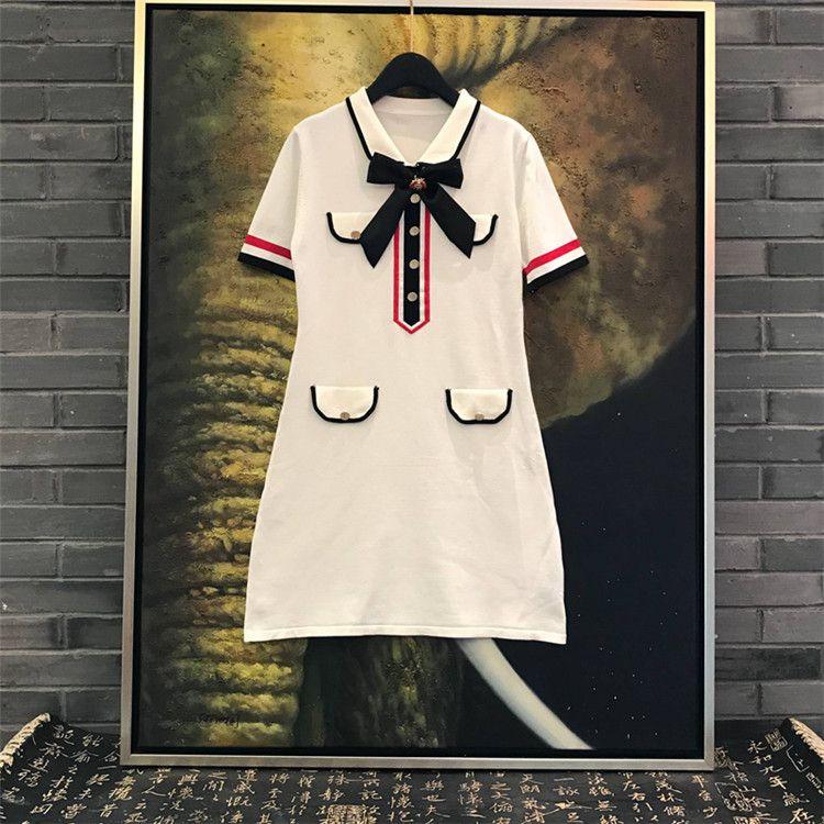 2019 nueva moda mujer manga corta cuello vuelto lindo arco patchwork vestido de una línea de punto vestido de diseño de pasarela S M L
