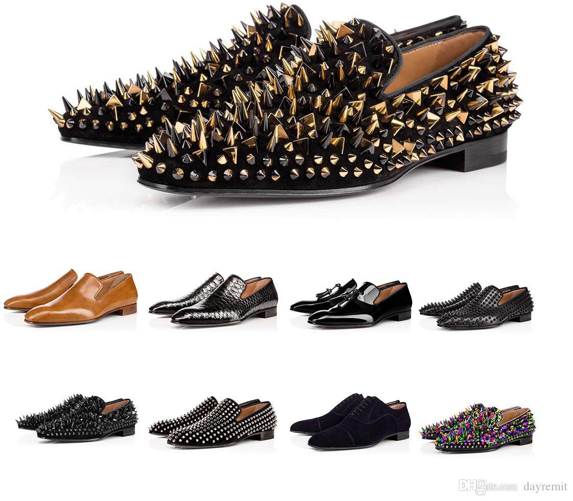 2021 Mens Red Bottom Disselon Spike Spikes Chaussures Grego Orlato Plat Noir Noir Real Cuir Sude Velvet Loafe Loafer Dress Coffret