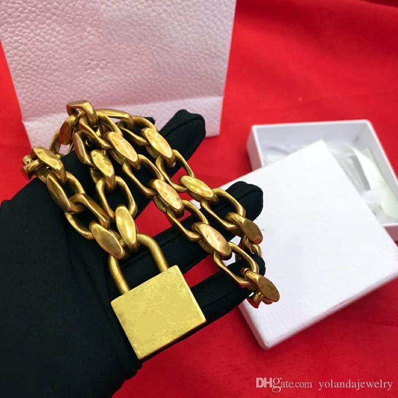 Bracciale collana Gioielli d'oro Europa e Amercia modo delle donne ha placcato il pendente Lock per ragazze Donne per la festa nuziale