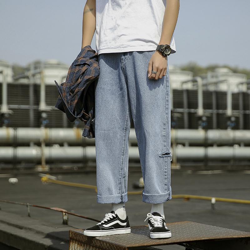 Harem Jeans 2019 Mens Streetwear Hiphop Denim Wide Leg Pants Loose colleague students Men's jeans pants