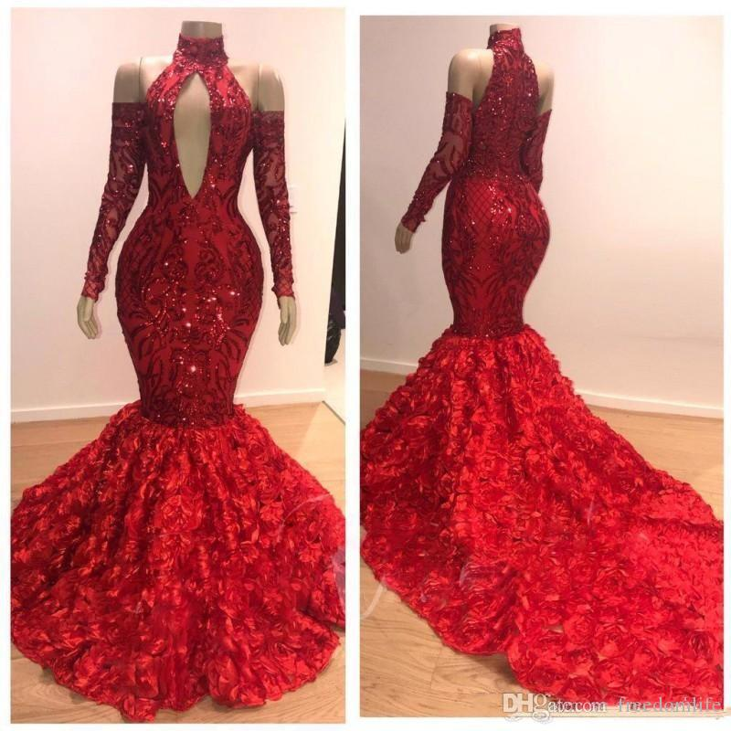 Charming Mermaid Red Prom Dresses 2020 Ruched Rose Court Train Evening Dress High Neck Off Shoulder Long Sleeves Party Dress