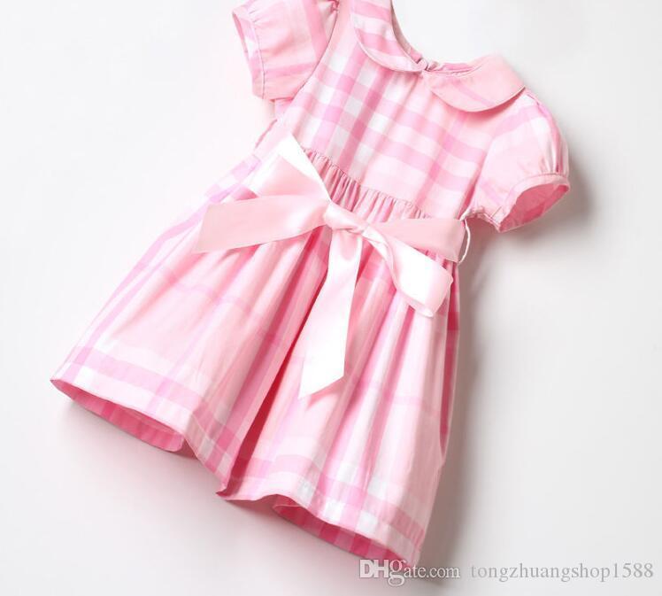 7109425e2af0a ... Dış Ticaret Çocuk Elbisesi Kız Çocuk Yakası Pembe Kareli Bant Zayıflama  Elbisesi ...