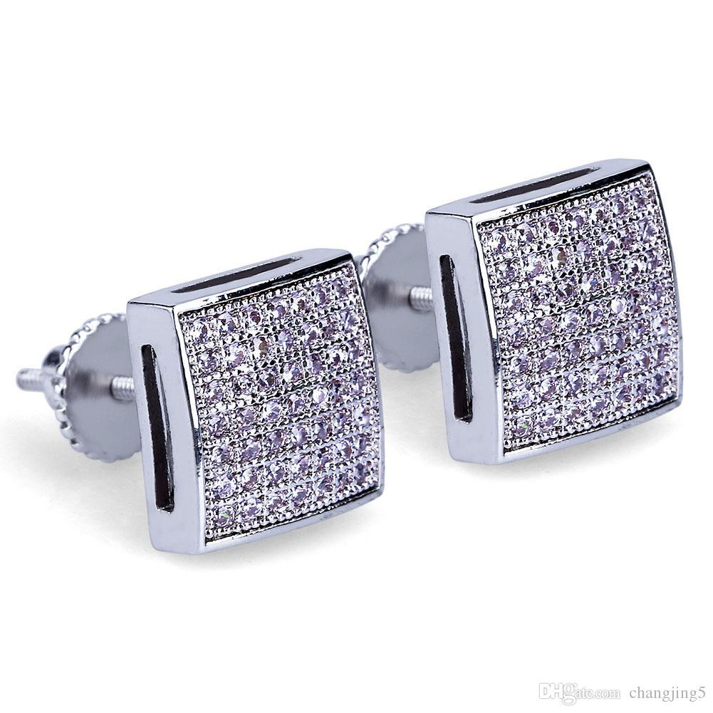 Pendientes de calidad joyas pendiente de lujo de Bling Bling circón Micro pavimentada hombres al por mayor de las mujeres de 18 quilates chapado en oro de Hip Hop pendientes cuadrados
