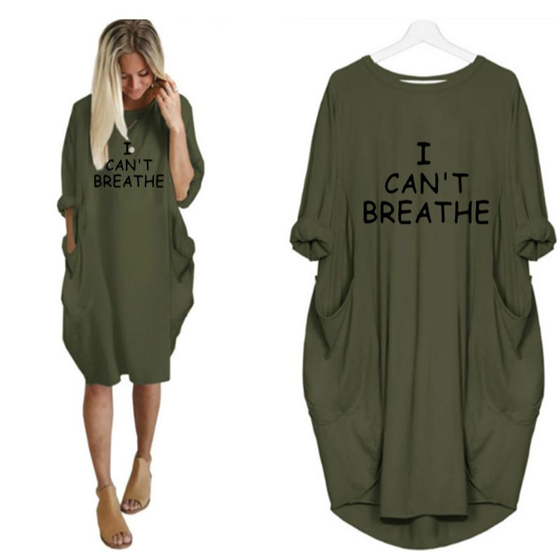 Je ne peux pas respirer les femmes Lettre Imprimé Robes Fashion Casual Mesdames robes à la mode robe sexy en vrac manches longues Vêtements d'été nouveau style