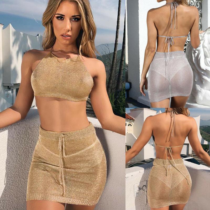 Duas peças vestido 2 pcs mulheres malha bodycon halter colheita top casual festa noite mini saia set sexy beachwear roupas