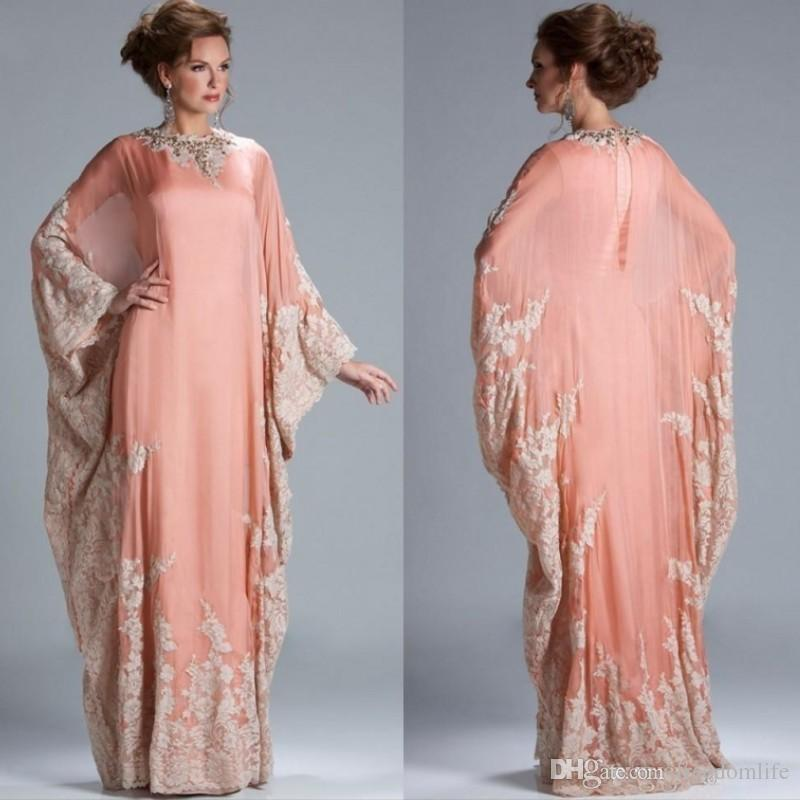 2019 New Chiffon Kaftan Dubai Arabian Evening Dresses Long Sleeves Appliques Lace Fitted Muslim Plus Size Mother of the Bride Dresses