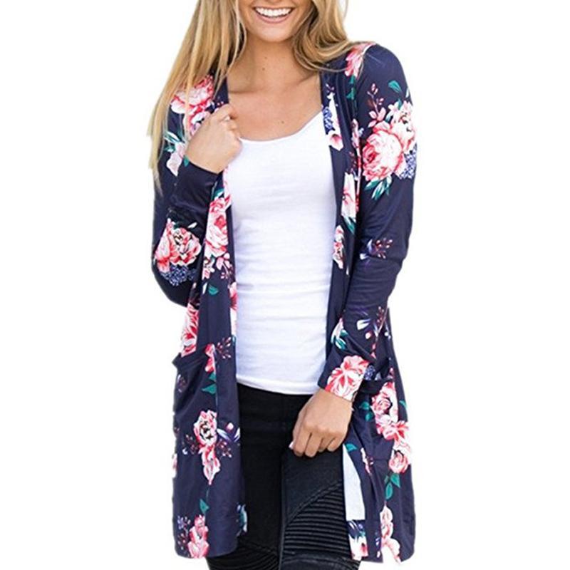 بلوزة طباعة الأزهار بلوزة قمم النساء مثير و 2018 الصيف الخريف جديد أزياء السيدات كم طويل كارديجان الحجم أكثر كيمونو