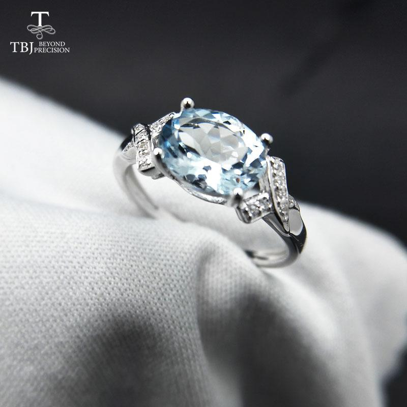 Tbj,100% Natural Brazil Aquamarine Ov6*8 1.3ct Gemstone Ring In 925 Sterling Silver Precious Stone Jewelry With Gift Box J190525