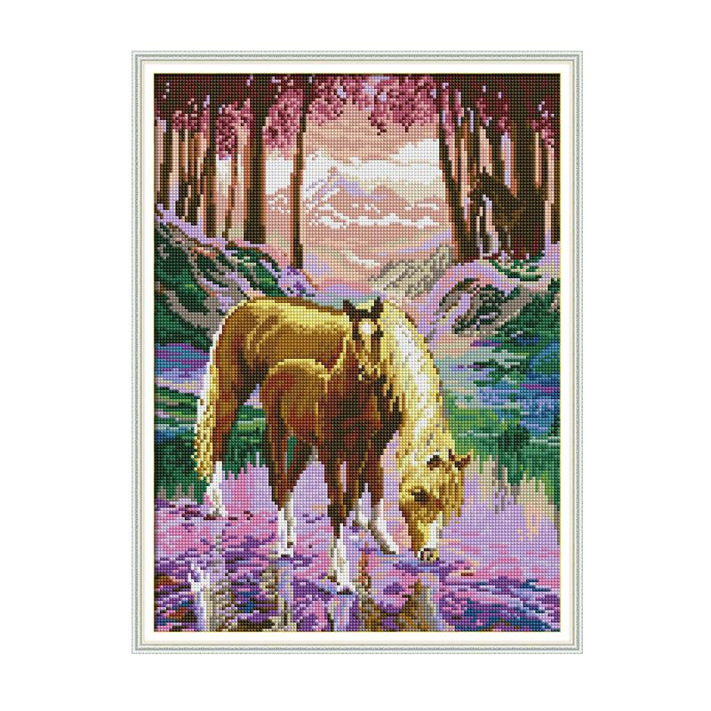 The Silent Valley 5D DIY Diamond Painting Horse Special Shaped Diamond Painting Full Round Picture Of Rhinestones Picture Canvas