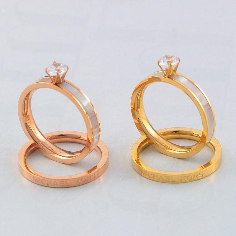 Basit Stil AŞK Elmas Narin Craft Mektupları 18K altın kaplama Band Yüzük Klasik Elmas kolye Rings çaldırır