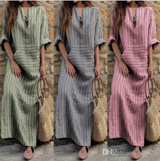 S-5XL Женское платье макси в полоску с длинными рукавами в полоску и длинным
