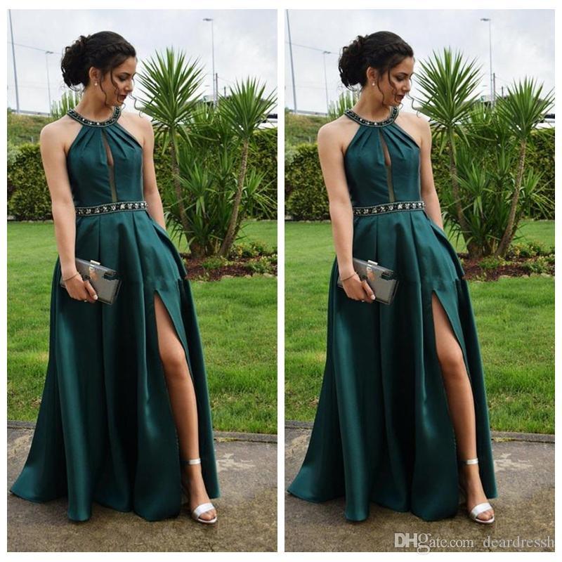 2019 Jewel A-Line Prom Robes Split Side Occasion spéciale Robes de soirée Collier Perlé Vintage Pas Cher