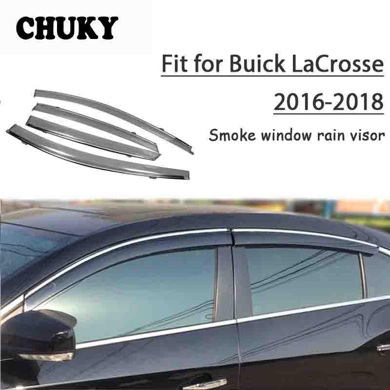 Chuky 4adet ABS Araç Şekillendirme Pencere saçakları Tenteler Yağmur Shield için Buick LaCrosse 2016 2017 2018 Oto Aksesuarları barınakları