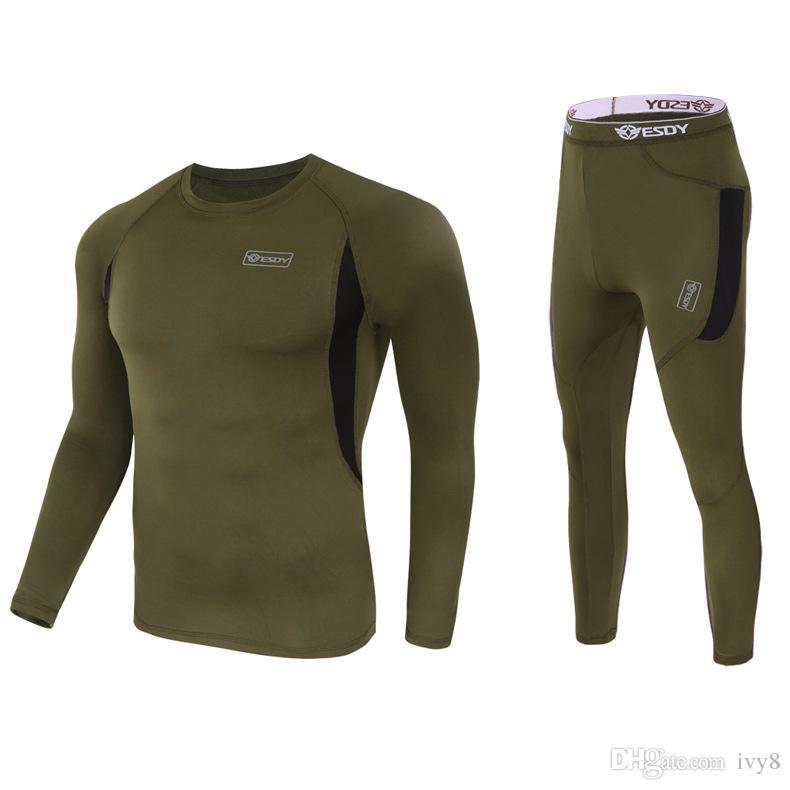 2019 Yeni Erkekler Taktik İç Açık Spor Elastik Çabuk Kuruyan Spor Takım Elbise Uzun Kollu Uzun Pantolon