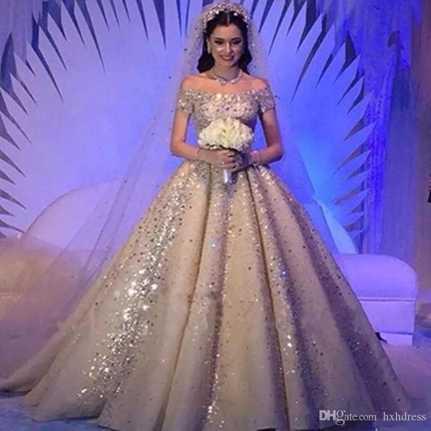 Lusso Arabia arabo Abiti da sposa Dubai fuori dalla spalla di Champagne in rilievo di cristallo Abiti da sposa Vestido De Novia vestito fatto su misura da sposa 3875