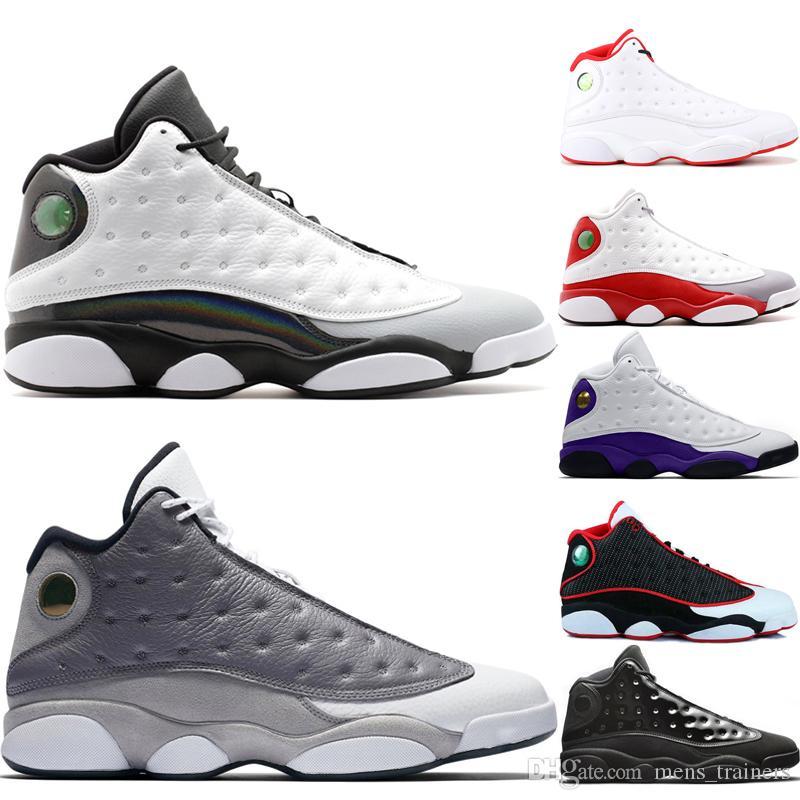 Vente chaude 13 Barons Hommes Chaussures De Basket-ball 13s Atmosphère Grey Olive Il A Obtenu Le Jeu DMP Chat Noir Gris Phantom Chicago Sport Sneakers