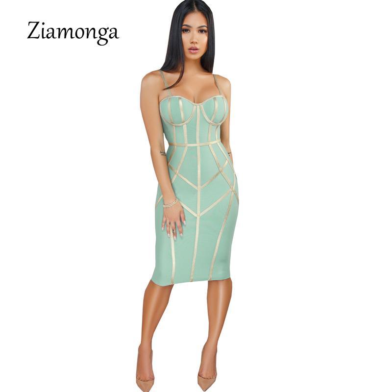 Abiti Ziamonga 2019 donne dalla fasciatura sexy della cinghia di spaghetti fodero del randello di sera del partito della celebrità di modo estate delle signore di Y200623