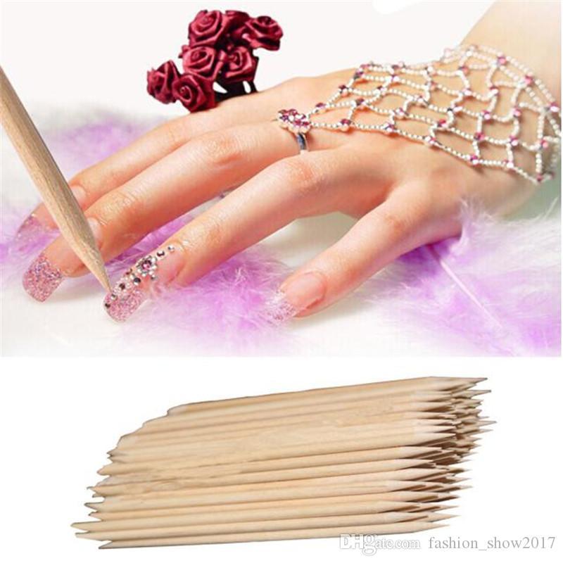 100pcs/lot Nail Stick Cuticle Pusher Orange Wooden Stick Cuticle Pusher Remover Nail Care for Manicure Pedicure Salon Art Tools