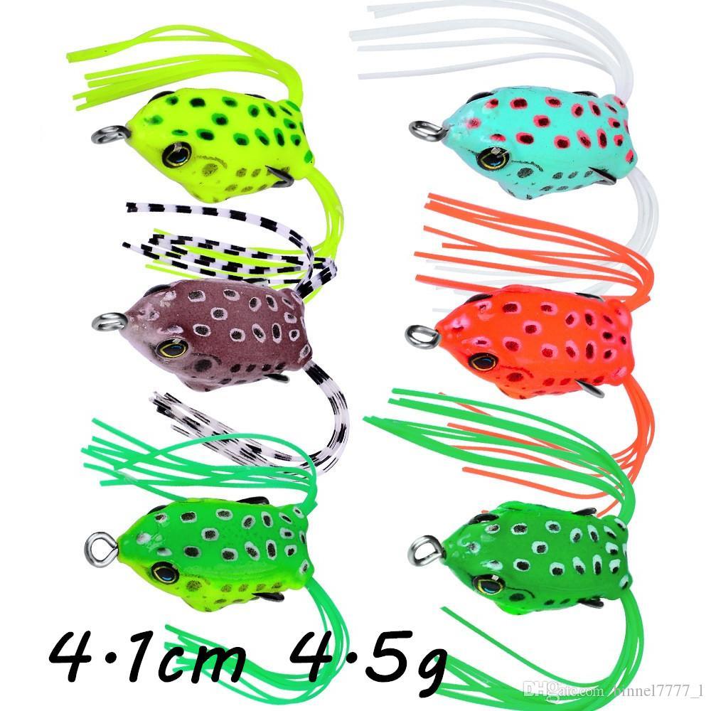 6 colori misti 4,1 centimetri 4,5 g morbida della rana di richiamo di pesca del PVC pesca con esche artificiali esche da pesca Ganci B7_44
