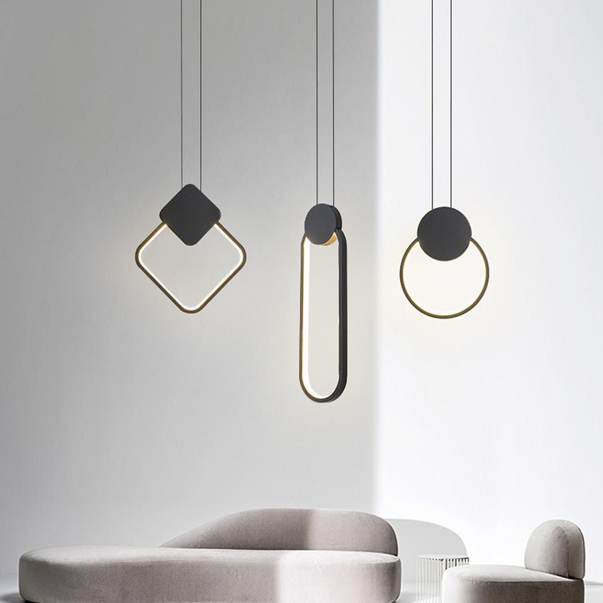 pendiente moderna geométrica dormitorio de la luz de la lámpara de cabecera restaurante personalidad creativa LED de una sola cabeza de la lámpara de suspensión
